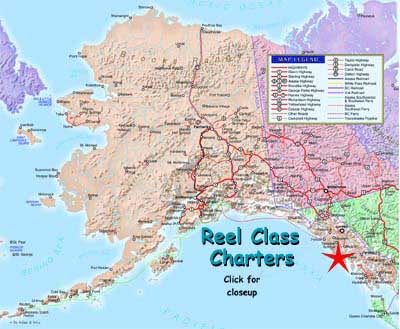 Map by Alaska Division of Tourism. We're located in scenic southeast Alaska